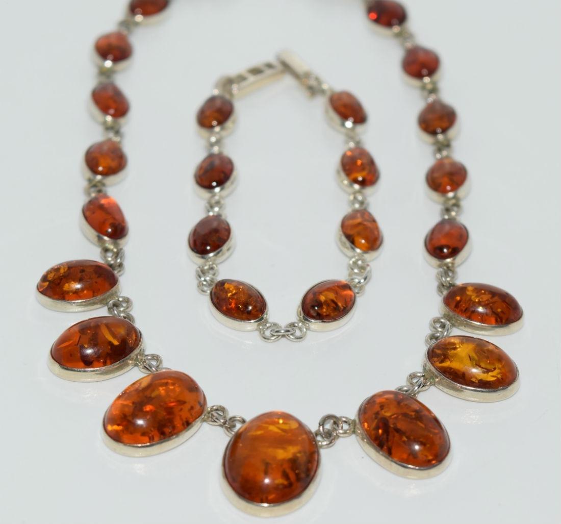 Vintage Sterling Amber Necklace & Bracelet Set