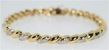 Sterling  Diamond Macaroni Bracelet