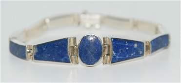 Vintage Natural Lapis Lazuli & Sterling Linked Bracelet