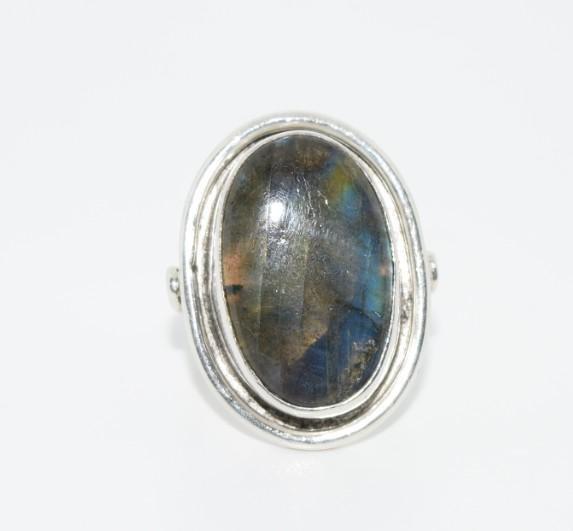 Large Oval Labradorite Sterling Ring