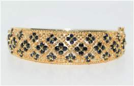 Gold Over Sterling Silver Blue Sapphire Bangle