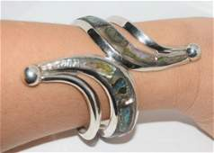 Large Taxco Mexico Sterling Abolone Clamper Bracelet