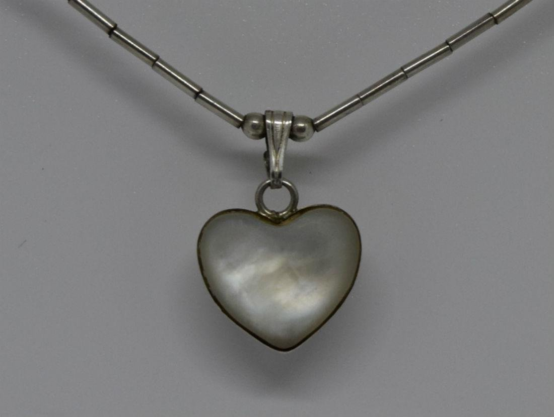 Native American Liquid Silver Mother of Pearl Necklace