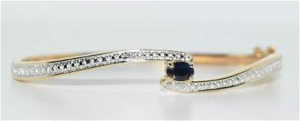 Gold Over Sterling Sapphire  Diamond Bangle Bracelet