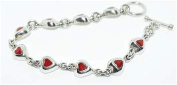 Sterling Silver Red Enamel Heart Link Bracelet