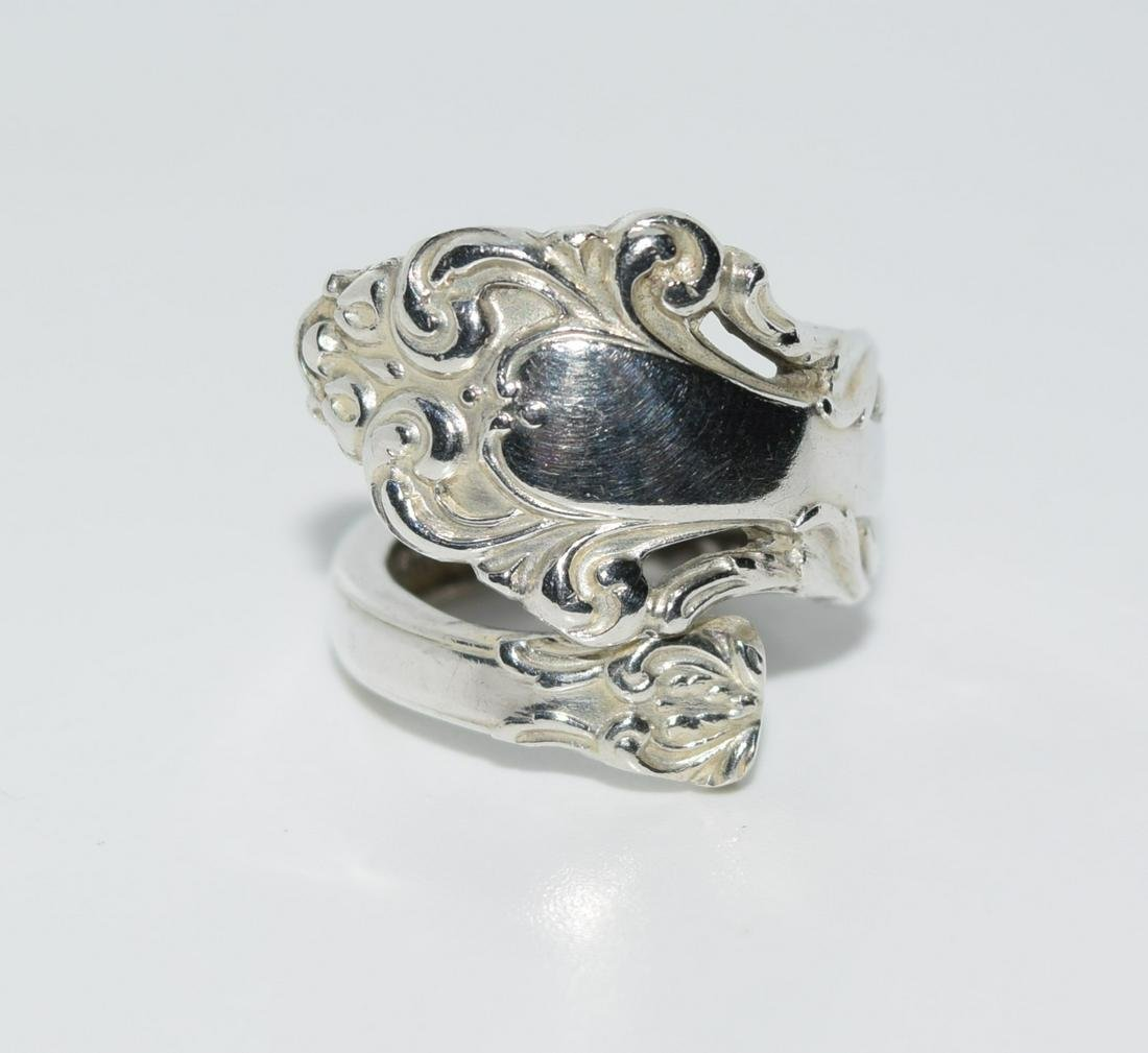 Reed & Barton Sterling Adjustable Wrap Spoon Ring Sz 4
