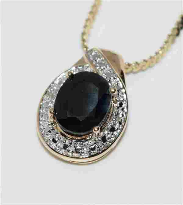 Gold Over Sterling Silver Sapphire and Diamond Necklace