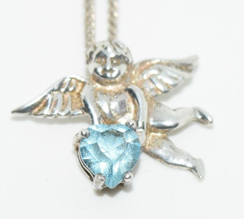 Sterling Silver Heart Topaz Cherub Necklace