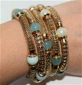 Gold tone and green bead and faux pearl wrap bracelet