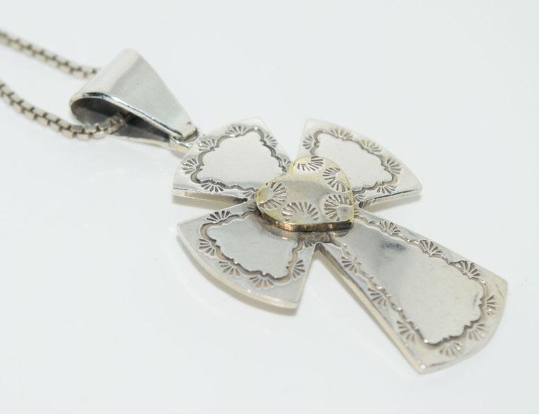 VTG Silver Native Cross Necklace