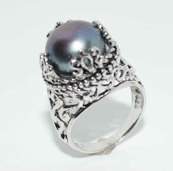 VTG Sterling Crowned Faux Pearl Ring