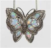 Sterling Silver Opal Butterfly Necklace