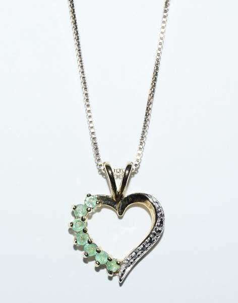 Gold Over Sterling Emerald & Diamond Heart Necklace