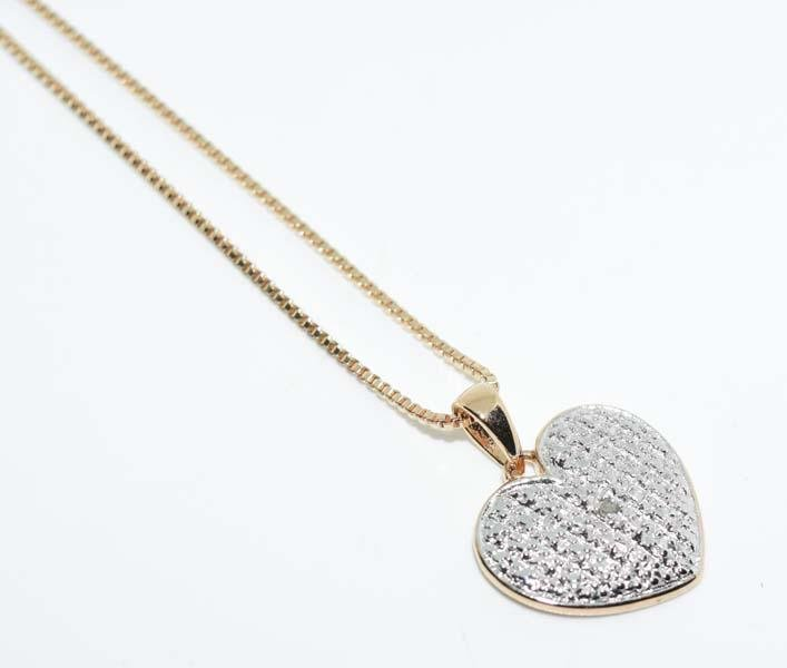 Gold Over Sterling Silver Diamond Heart Necklace