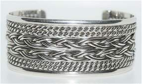 Taxco Mexico Sterling Silver Braided Cuff Bracelet