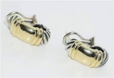 David Yurman Sterling / 14k Gold Half Hoop Cable