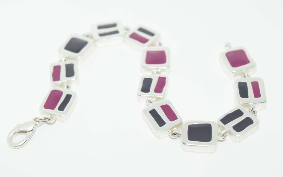 Silver Tone Enamel Square Link Bracelet
