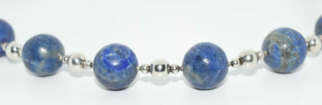 Sterling Lapis Large Beaded Necklace