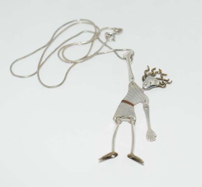 Jim LeTerneau Hanging by a thread Sterling Necklace