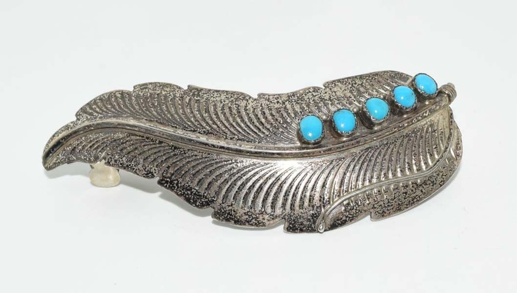 Vintage Silver Tone Turquoise Feather Hair Clip