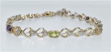 Gold Over Sterling Silver Multi Stone Bracelet
