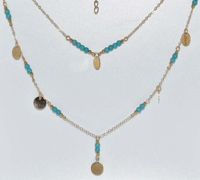 Double Layered Gold Tone Bead Necklace