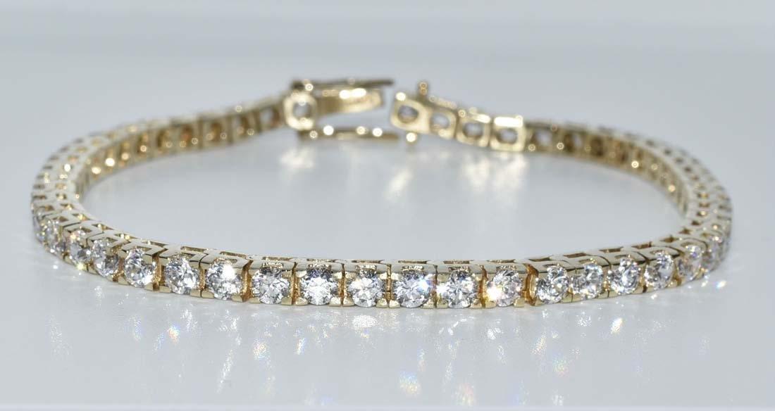 Gold Over Sterling Silver CZ Bracelet