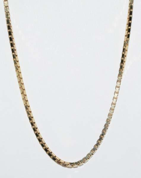 Italian Gold Over Sterling Silver Box Chain Necklace