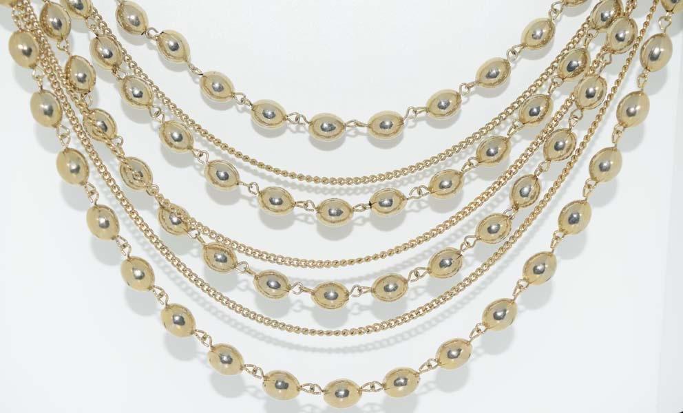 Vintage 7 Strand Gold Tone Necklace