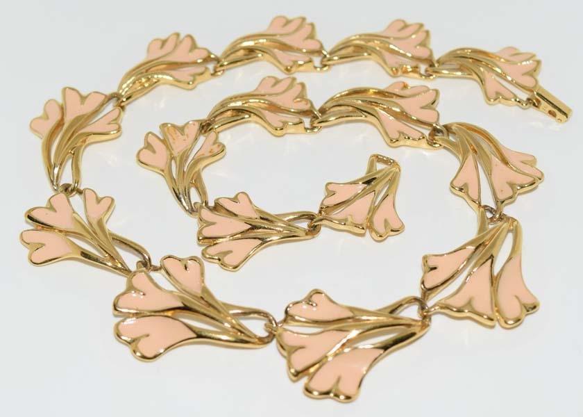 Trifari Enamel Gold Tone Necklace