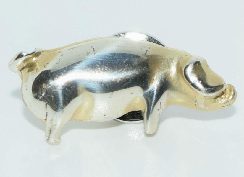 Vintage Sterling Silver Pig Pin