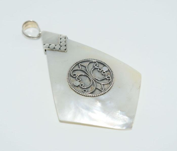 Sterling Silver Boho Mother of Pearl Pendant