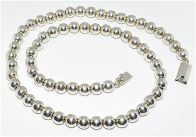 Taxco Mexico Sterling Silver Bead Necklace
