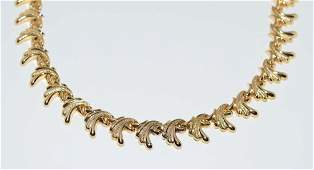18K Yellow Gold Antique Scroll Necklace