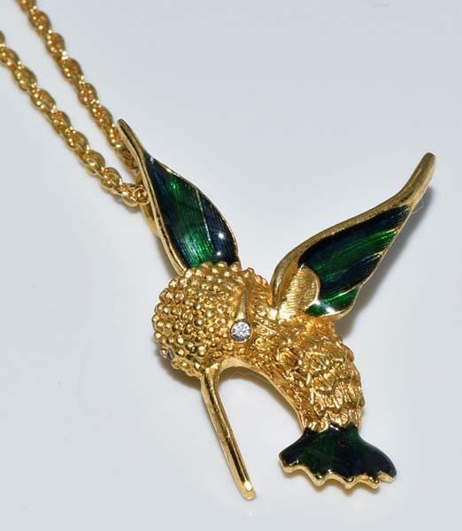 Gold Tone Enamel Hummingbird Necklace