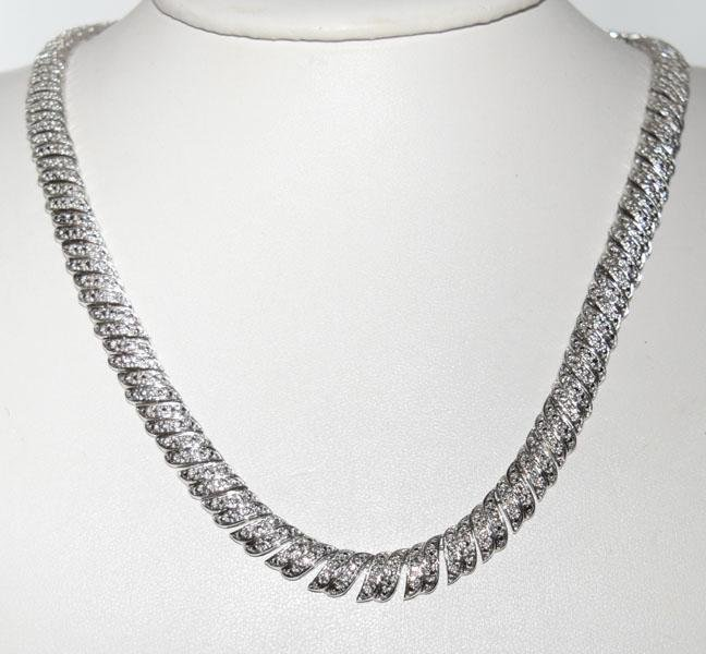 Sterling Diamond Chip Classic Design 17inch Necklace
