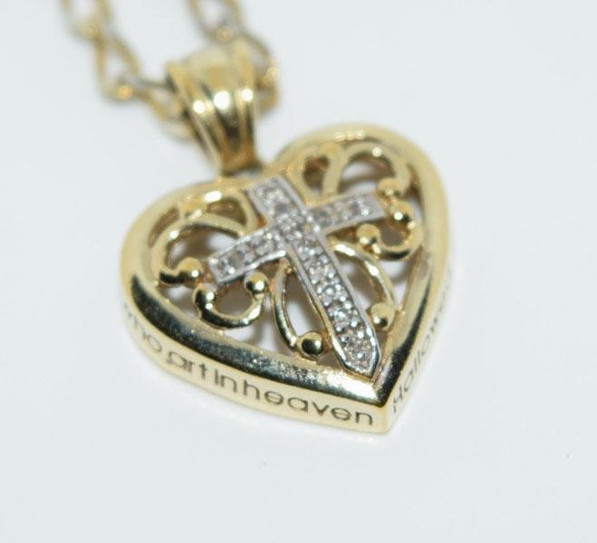 Gold over Sterling Scroll Diamond Cross Necklace