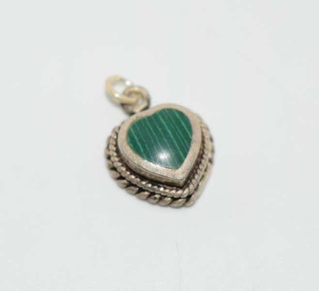 Tested Sterling Malachite Heart Charm