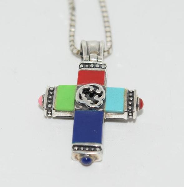 Sterling Silver Double Sided Stone Cross Necklace