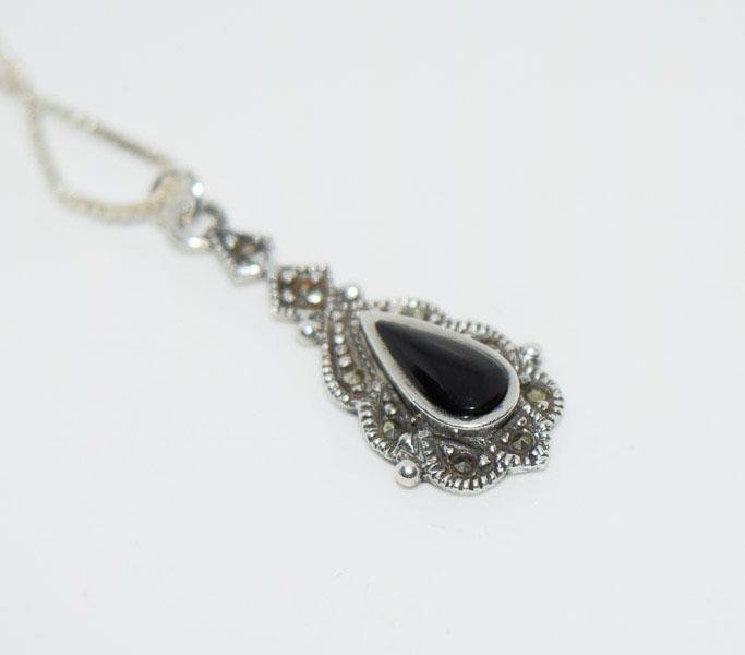Sterling Silver Onyx Marcasite Necklace