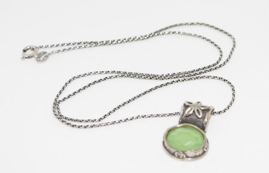 Sterling Unique Design Green Necklace
