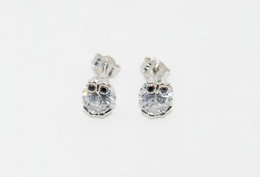 Sterling Silver Sparkling Owl Post Earrings