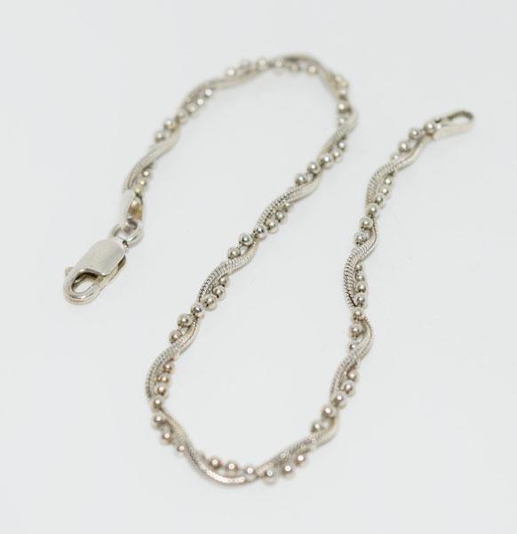 7.25inch Sterling Ball & Snake Chain Bracelet