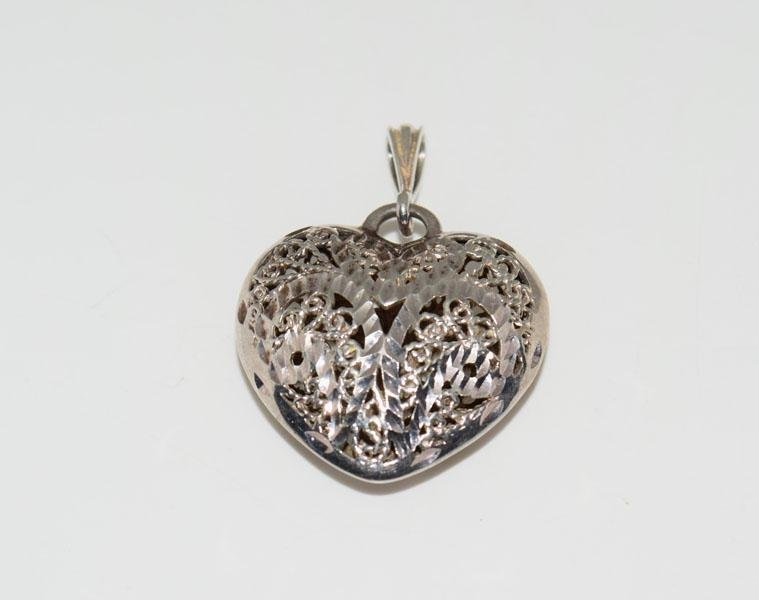 Sterling Silver Large Cut out Heart Pendant