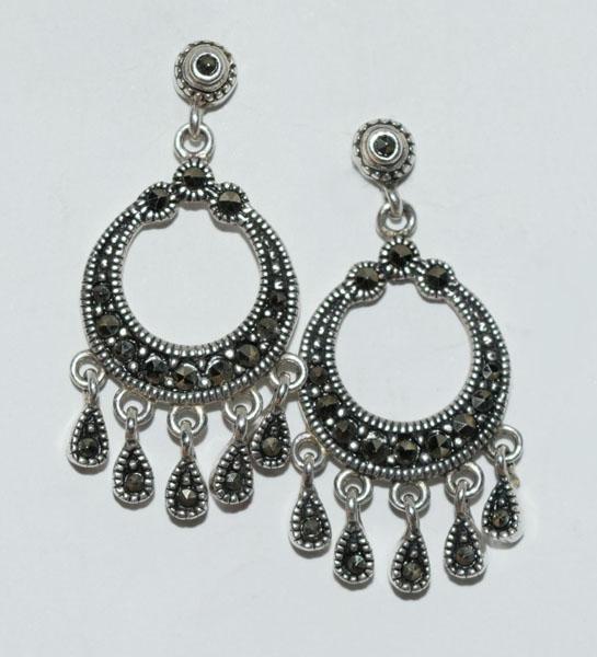 Sterling Bali Style Marcasite Dangle Earrings