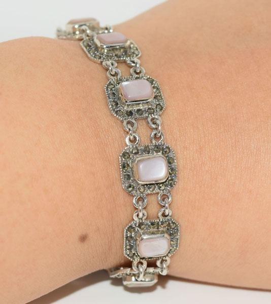 Sterling Mother of Pearl Marcasite Frame Bracelet