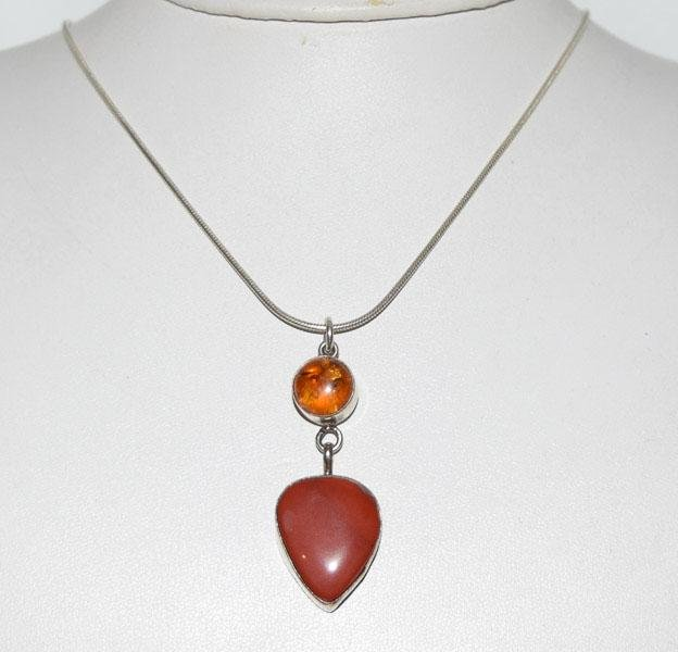 Sterling 7CT Nepahrite & Amber Necklace