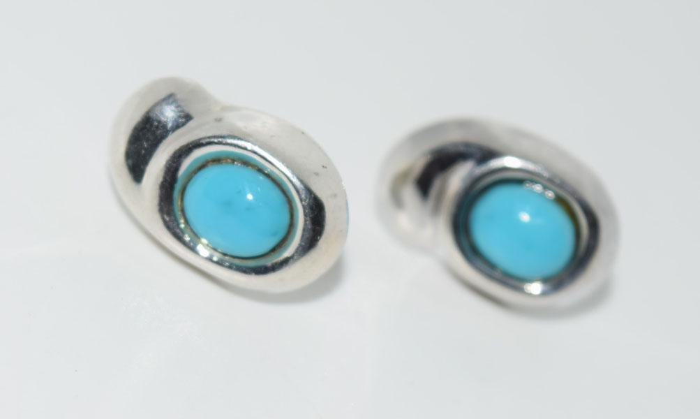 Mexico Sterling Turquoise Color Post Earrings