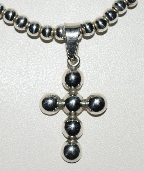 Sterling18inch Beaded Design Cross Necklace