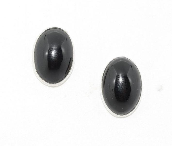 Sterling Silver Cabochon Onyx Post Earrings